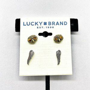 NEW Lucky Brand Owl & Angel Wings Stud Earrings